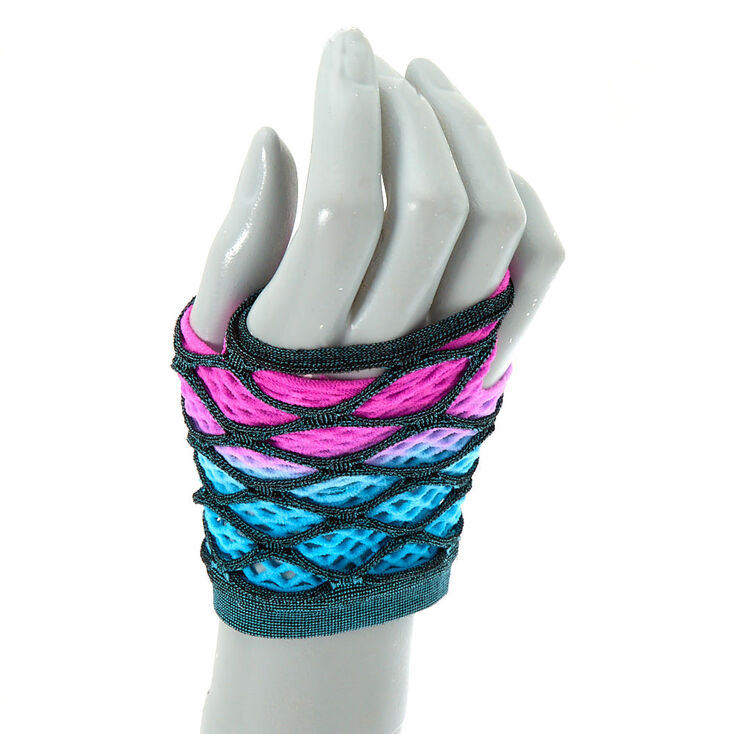 Ombre Layered Fishnet Gloves - Pink and Blue,