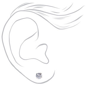 Silver Cubic Zirconia Round Stud Earrings - 3MM, 4MM, 5MM,