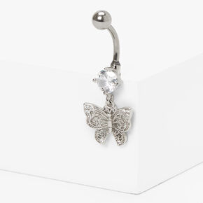 Silver 14G Crystal Butterfly Dangle Belly Ring,