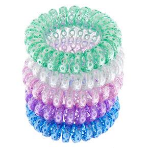 Sequin Pastel Mini Spiral Hair Ties - 5 Pack,