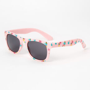 Floral Print Wayfarer Sunglasses - Pink,