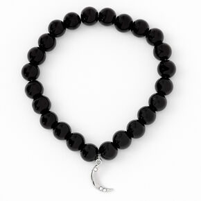 Silver Moon Beaded Stretch Bracelet - Black,
