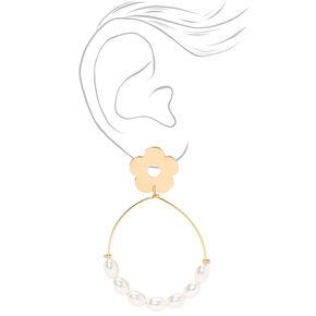 """Gold 2.5"""" Daisy Pearl Teardrop Drop Earrings,"""