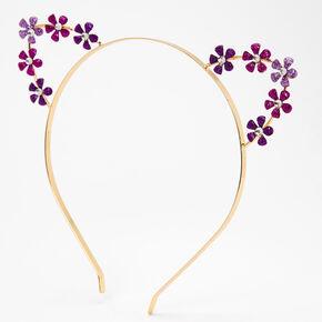 Gold Flower Cat Ears Headband - Purple,