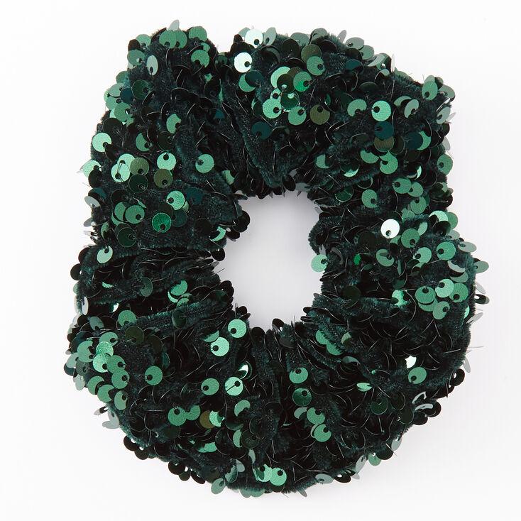 Medium Emerald Green Sequin Scrunchie,