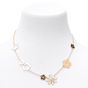 Gold Daisy Links Chain Necklace,