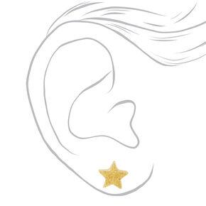 Glow In the Dark Glitter Star Stud Earrings - Yellow,