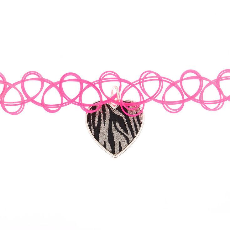 Rainbow Zebra Tattoo Choker Necklace,