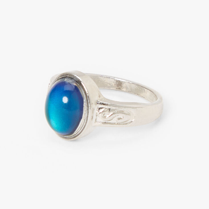 Silver Ornate Oval Mood Ring,