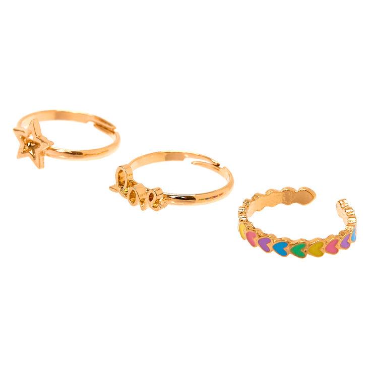 Gold Love Rings - 3 Pack,