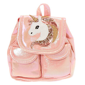 Claire's Club Iridescent Unicorn Mini Backpack - Pink,