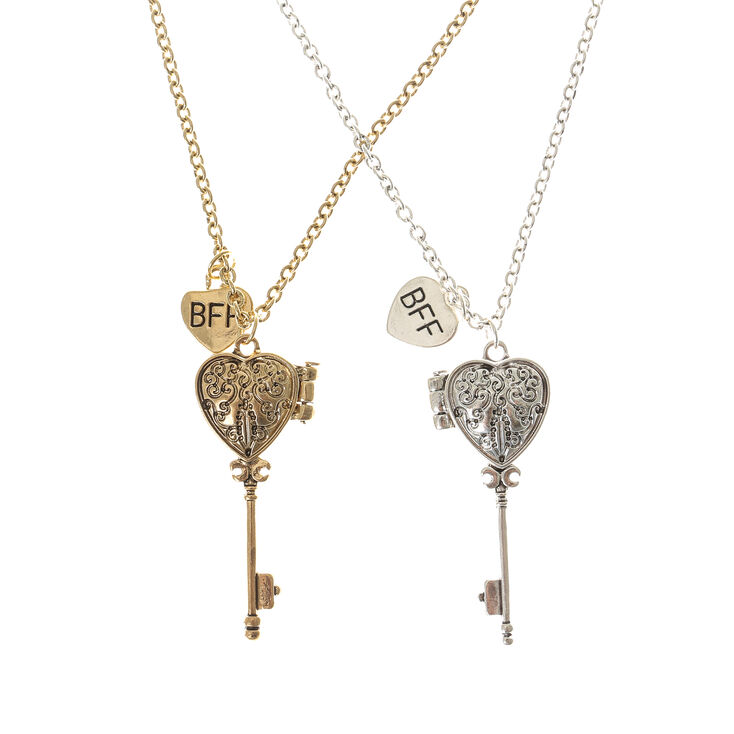Mixed Metal Best Friends Heart Key Locket Necklaces - 2 Pack,