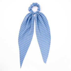 Small Polka Dot Pleated Scarf Hair Scrunchie - Light Blue,