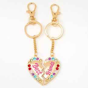 Best Friends Rainbow Gem Heart Keychain - 2 Pack,