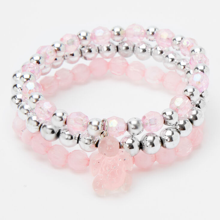 Claire's Club Turtle Beaded Stretch Bracelets - Pink, 3 Pack,