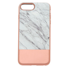 Rose Gold and Marble Protective Phone Case - Fits iPhone 6/7/8 Plus,