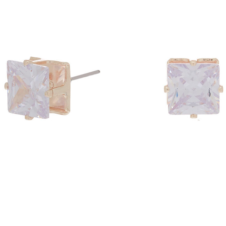 eac48862e Rose Gold Cubic Zirconia 8MM Square Stud Earrings | Claire's