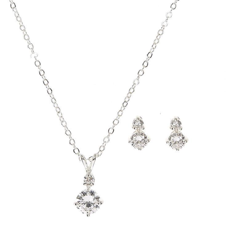 Silver Cubic Zirconia Diamond Drop Pendant Necklace & Earrings Set,