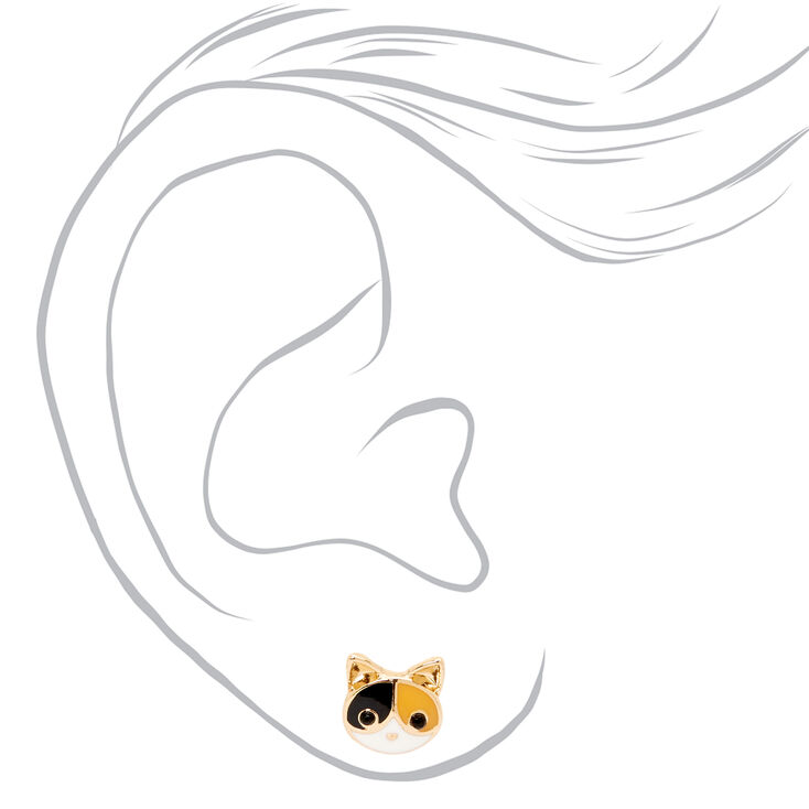Gold Calico Cat Stud Earrings,