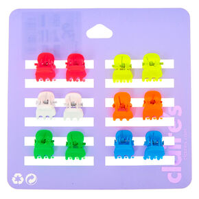 Matte Neon Rainbow Mini Hair Claws - 12 Pack,