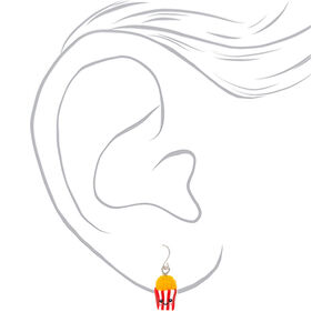 "Silver 1"" Happy Popcorn Drop Earrings - Red,"