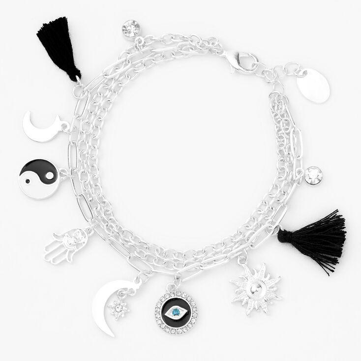 Bracelet à breloques pompon yin yang couleur argentée - Noir,