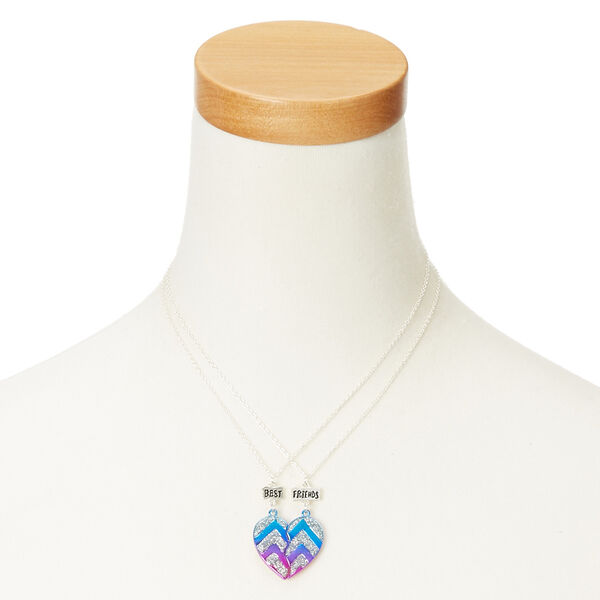 Claire's - metallic glitter chevron heart best friend necklaces - 2