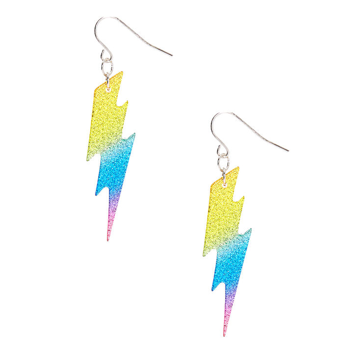 "2"" Rainbow Glitter Lightning Bolt Drop Earrings,"