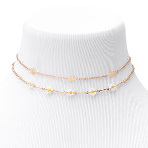 Gold Daisy Chain Choker Necklaces - 2 Pack,