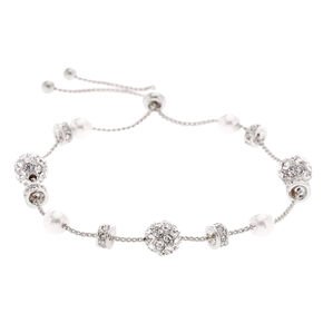 Silver Fireball Pearl Adjustable Bracelet,