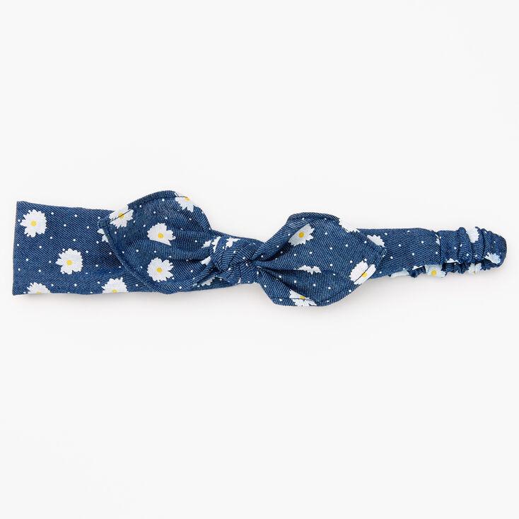 Denim Daisy Knotted Bow Headwrap - Blue,