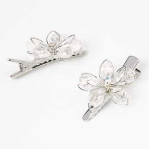 Claire's Club Silver Rhinestone Flower Hair Clips - 2 Pack,