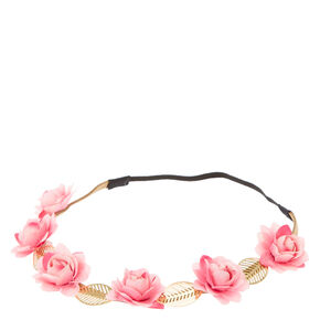 Pink Roses & Leaves Headwrap,