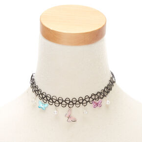 c98ad22d77 Butterfly Charm Tattoo Choker Necklace