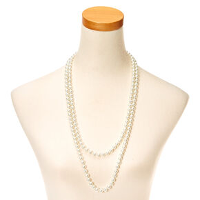 Long Pearl Effect Rope Necklace,