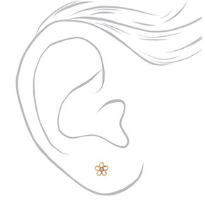 18kt Gold Plated Open Daisy Stud Earrings,