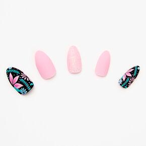 Tropical Floral Matte Stiletto Faux Nail Set - Pink, 24 Pack,