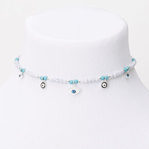 Silver Evil Eye Beaded Choker Necklace - Turquoise,