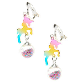"1"" Rainbow Unicorn Clip On Drop Earrings,"