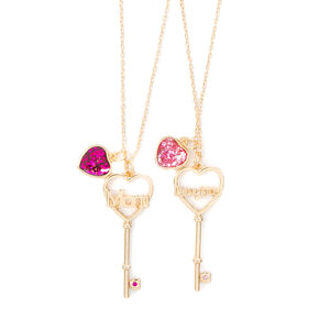 Mom & Daughter Glitter Heart & Key Pendant Necklaces,