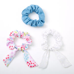 Claire's Club Small Floral Bow Hair Scrunchies - 3 Pack,