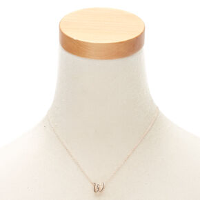 Rose Gold Cursive Initial Pendant Necklace - W,