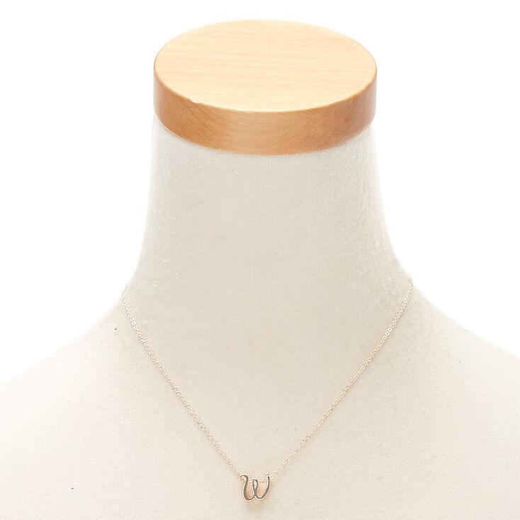 Rose Gold Cursive Initial Pendant Necklace - W,
