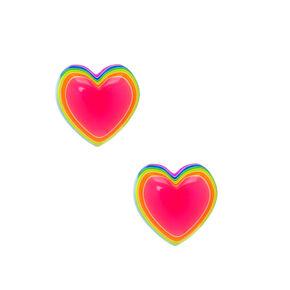 Clous d'oreille cœur arc-en-ciel fluo en argent,