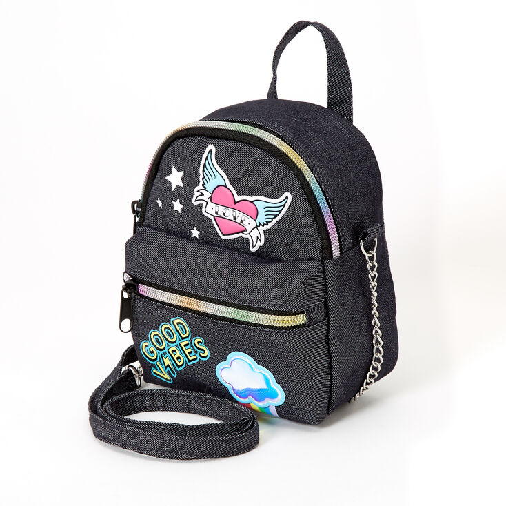 Denim Patches Mini Backpack Crossbody Bag - Black,