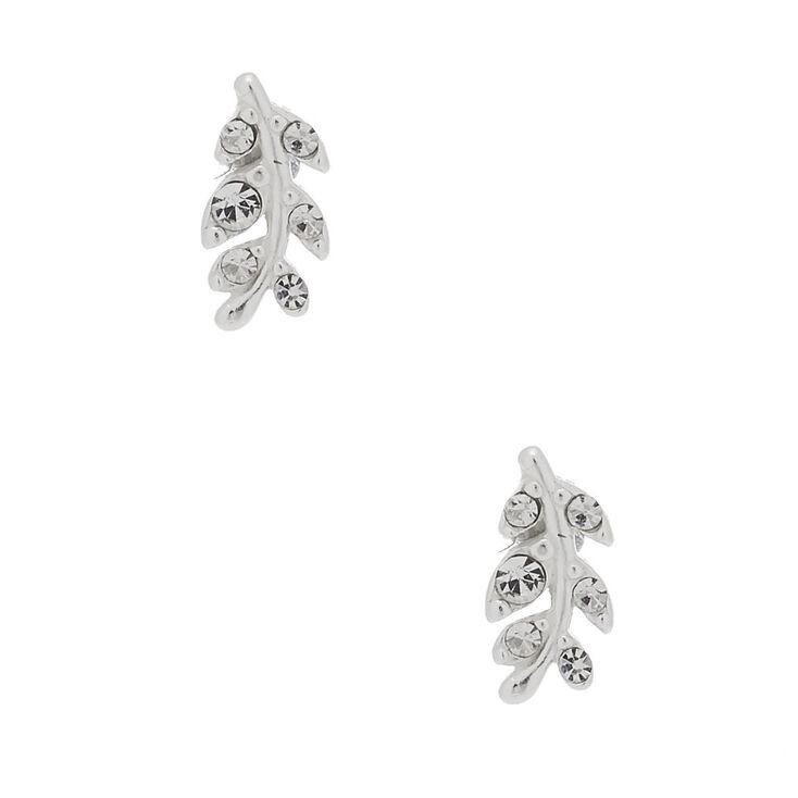 Sterling Silver Leaf Stud Earrings,