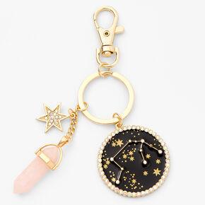 Porte-clés zodiaque avec cristaux de guérison (imitation) couleur dorée - Verseau,