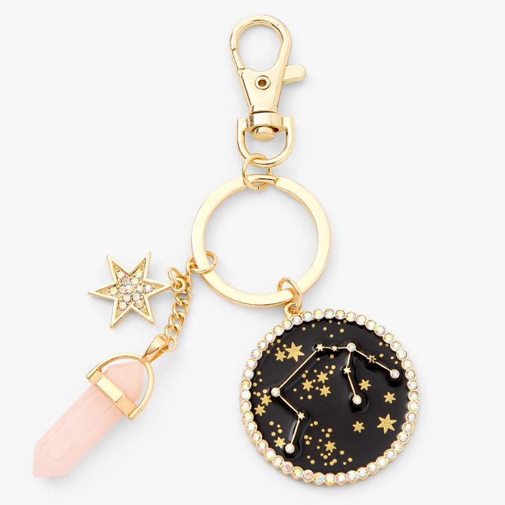 Gold Healing Crystal Zodiac Keyring - Aquarius,