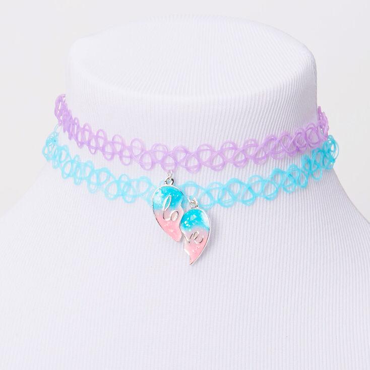 Best Friends Blue & Purple Heart Glow In The Dark Tattoo Choker Necklaces - 2 Pack,
