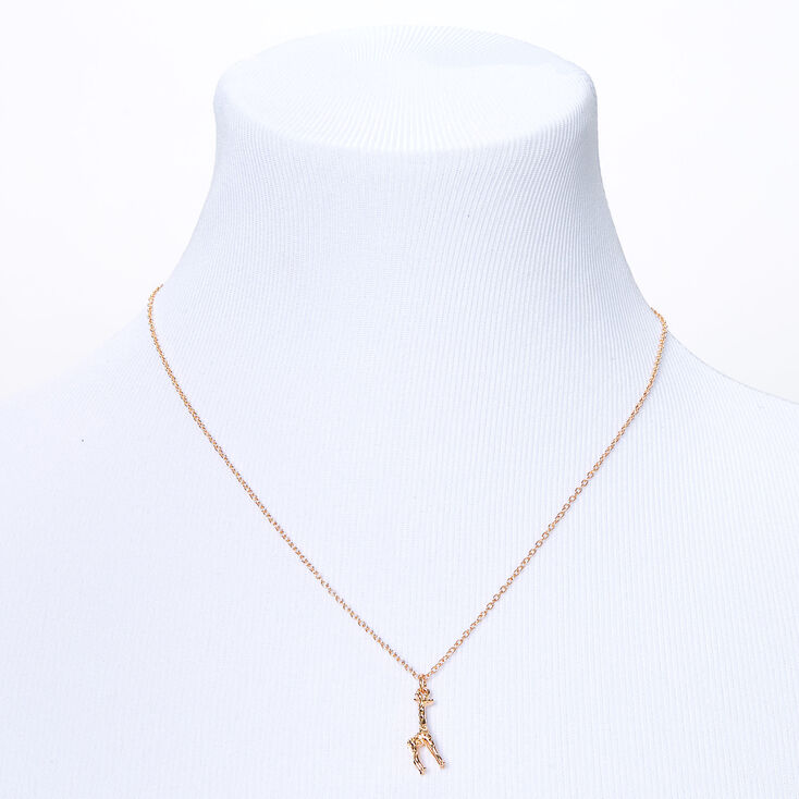 Gold 3D Giraffe Pendant Necklace,